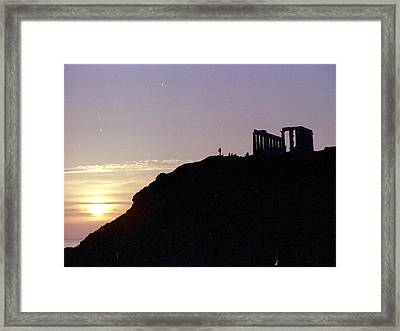 Sounion Greece Sunset Framed Print by Mike McCool