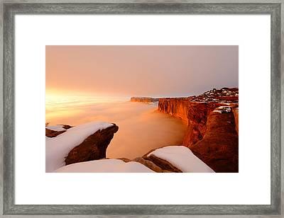 Grand View In Fog Framed Print
