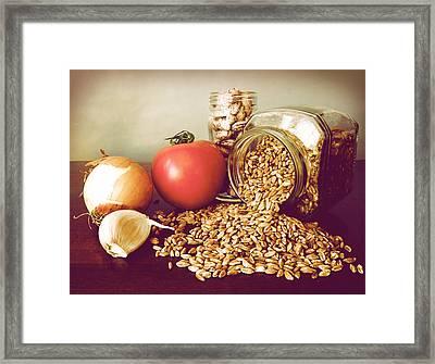 Soup Ingredients Fresh Tomato Garlic Onion Borlotti Emmer Framed Print