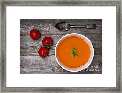 Soup On Wood Table Framed Print