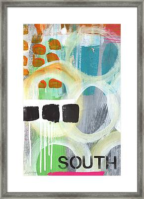 South- Abstract Expressionist Art Framed Print by Linda Woods