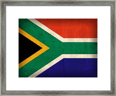 South Africa Flag Vintage Distressed Finish Framed Print by Design Turnpike