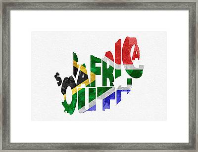 South Africa Typographic Map Flag Framed Print by Ayse Deniz