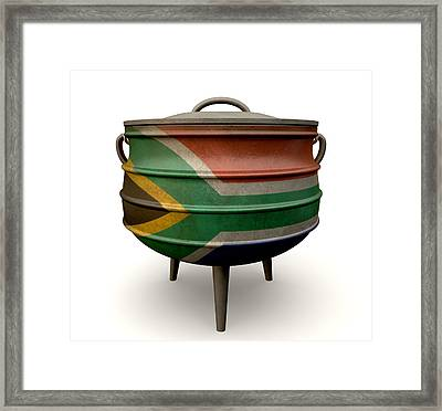 South African Potjie Pot Painted Flag Framed Print by Allan Swart
