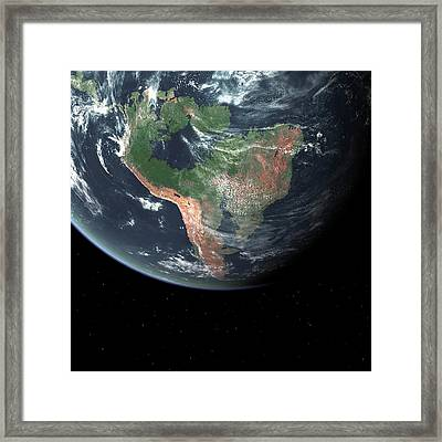South America With Sea Level Rise Framed Print by Walter Myers