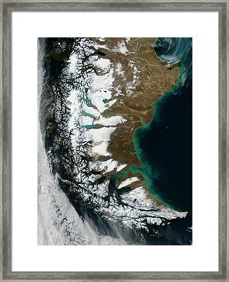 South American Winter Framed Print by Jeff Schmaltz/modis Land Rapid Response Team/nasa Gsfc