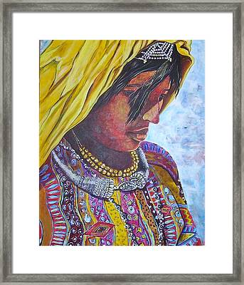 South American Woman Framed Print by Linda Vaughon