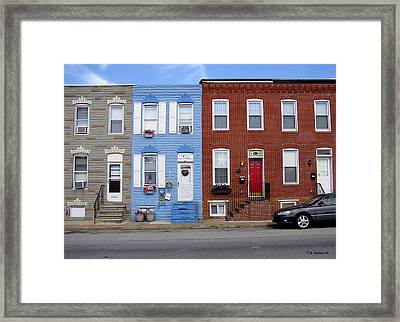 Framed Print featuring the photograph South Baltimore Row Homes by Brian Wallace