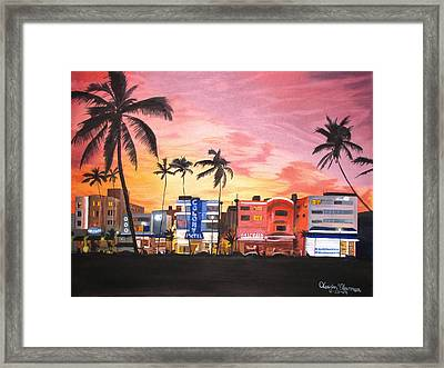 Framed Print featuring the painting South Beach Ocean Drive by Kevin F Heuman
