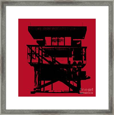 Framed Print featuring the digital art South Beach Lifeguard Stand by Jean luc Comperat