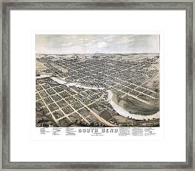 South Bend - Indiana - 1874 Framed Print