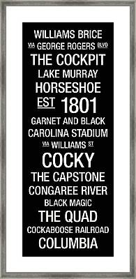 South Carolina College Town Wall Art Framed Print by Replay Photos