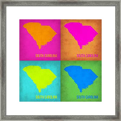 South Carolina Pop Art Map 1 Framed Print by Naxart Studio