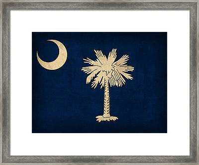 South Carolina State Flag Art On Worn Canvas Framed Print by Design Turnpike
