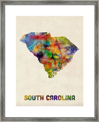 South Carolina Watercolor Map Framed Print by Michael Tompsett