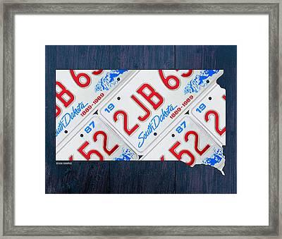South Dakota License Plate Map Art Framed Print