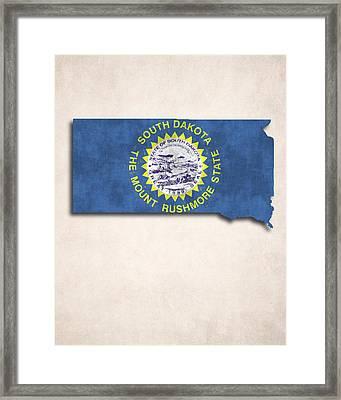 South Dakota Map Art With Flag Design Framed Print by World Art Prints And Designs