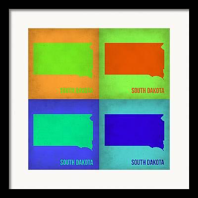 South Dakota Map Framed Prints