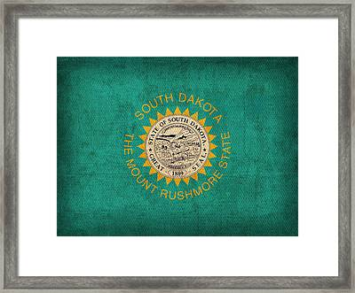 South Dakota State Flag Art On Worn Canvas Framed Print by Design Turnpike