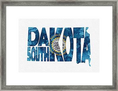 South Dakota Typographic Map Flag Framed Print by Ayse Deniz