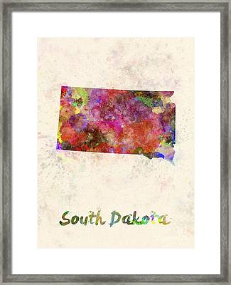 South Dakota Us State In Watercolor Framed Print by Pablo Romero