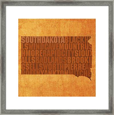 South Dakota Word Art State Map On Canvas Framed Print by Design Turnpike