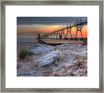 South Haven Beach And Lighthouse Framed Print