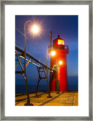 South Haven Light At Night Framed Print by Twenty Two North Photography