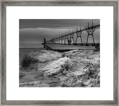 South Haven Lighthouse And Beach Framed Print by Twenty Two North Photography