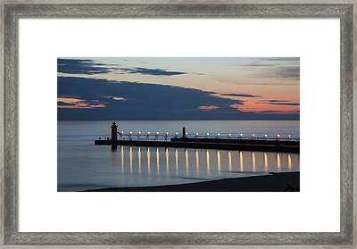 South Haven Michigan Lighthouse Framed Print by Adam Romanowicz