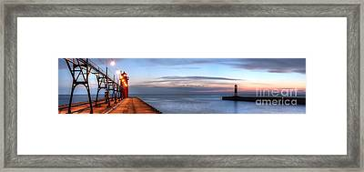 South Haven Pier In Evening Framed Print by Twenty Two North Photography