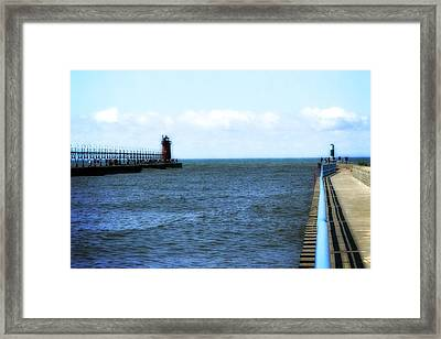 South Haven South Pierhead Light Framed Print by Michelle Calkins