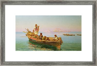 South Italian Fishing Scene Framed Print by Pietro Barucci