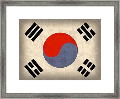 South Korea Flag Vintage Distressed Finish Framed Print by Design Turnpike