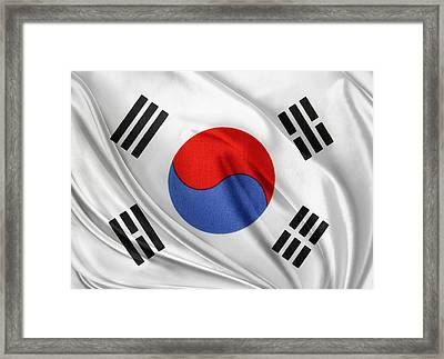 South Korean Flag Framed Print by Les Cunliffe