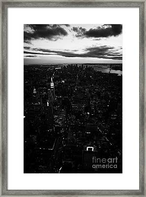South Manhattan Skyline Night Evening New York City Framed Print