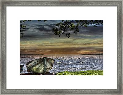South Manistique Lake With Rowboat Framed Print