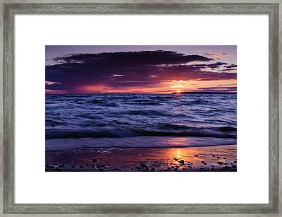 South Manitou Sunset Framed Print by Thomas Pettengill