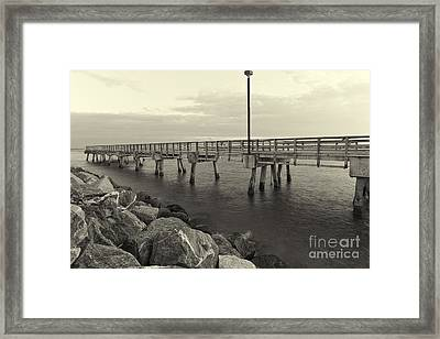 South Pointe Bridge In Sephia Framed Print by Eyzen M Kim