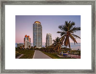 South Pointe Park On A Quiet Fall Morning - South Beach Miami Beach - Florida Framed Print by Silvio Ligutti