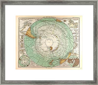 South Pole Map Gotha Justus Perthes 1872 Atlas Framed Print