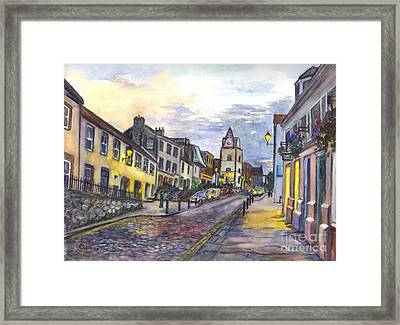 Nightfall At South Queensferry Edinburgh Scotland At Dusk Framed Print