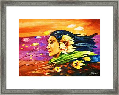 Framed Print featuring the painting South Sea Breeze  Fleeting Blossoms by Al Brown