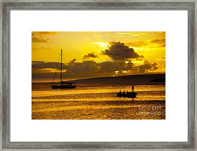 South Sea Sunset - Ferry And Yacht At Port Vila - Vanuatu - South Pacific.  Framed Print