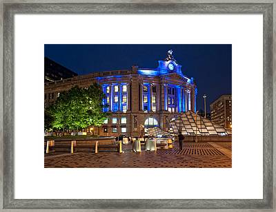 South Station In Blue - Boston Framed Print