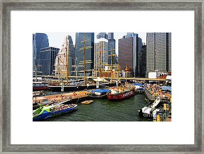 South Street Seaport -nyc Framed Print by Linda  Parker