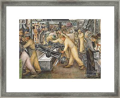 South Wall Of A Mural Depicting Detroit Industry Framed Print by Diego Rivera