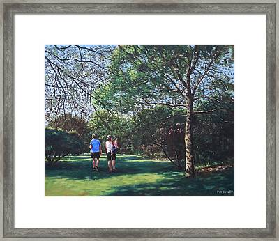 Southampton People In Park Framed Print by Martin Davey