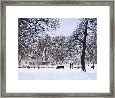 Southampton Watts Park In The Snow Framed Print by Martin Davey