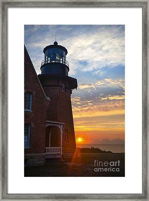 Southeast Lighthouse Block Island  Framed Print by Diane Diederich
